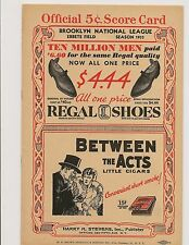 1933 Brooklyn Dodgers-Reds Program Clubs All Knotted Up!!