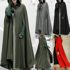 Winter Top Damen Lange Cape Mantel Strickjacken mit Kapuze Mantel Outwear Mittelalter Gewand
