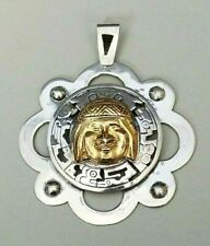 Peruvian Sterling Silver 18k Gold Vintage Pendant Inca 925 Peru