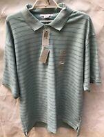 Geoffrey Beene Medium Blue Gray Striped Cotton Mens S/S Polo Shirt New Size 2XL