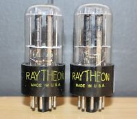 RAYTHEON 6SN7GT PERFECT MATCH PAIR BLACK PLATE D GETR S RODS MINTY 1948-49