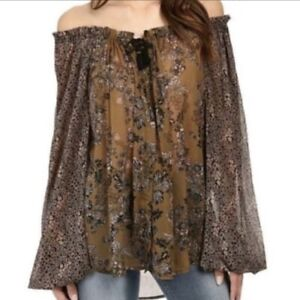 FREE PEOPLE Hendrix Floral Oversized Chiffon Blouse Balloon Sleeves Size Small S