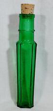 Vintage Glass Cork Bottle Multi-Sided Green /bubbles