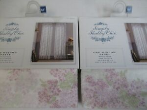 Simply Shabby Chic White Voile Lavender Lilac Floral Panels Drapes - Pair