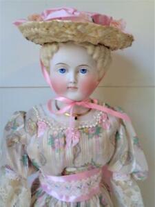 "Antique 1880s Parian China Head Doll 24"" German Lady Blonde Civil War Flat Top"