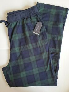 Nautica Pajama Lounge Sleep Pants Green Navy  Plaid  Pockets  M Medium