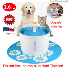 1.6L Automatic Pets Cat Dog Water Drinking Round Fountain Bowl Dish Filter Usa