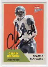 CHAD BROWN Seahawks SIGNED 2002 Fleer Platinum #95 Autograph ON CARD AUTO