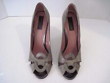 DEREK LAM Taupe Leather Open Toe Front Design Heels Size 9  Made In Italy