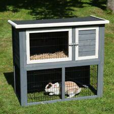 Compact Outdoor Wooden Rabbit Guinea Pig Hutch Run Space Saving Weatherproof