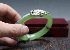 Chinese Tibet silver Dragon Phoenix Hand-carved Green jade bracelet