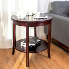 End Table Round Wooden Shelf Side Sofa Accent Couch Furniture Living Room  Cheery
