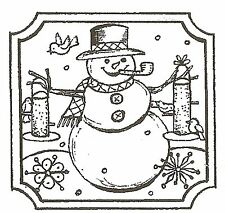 CHRISTMAS SNOWMAN BIRDFEEDER SQ Wood Mounted Rubber Stamp NORTHWOODS C10120 New