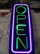 Neon Sign OPEN Solid Plastic Frame Green/Purple Lights ON/OFF Switch Chains