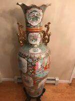 "Extra Large Vintage Famille Rose Chinese Porcelain Floor Vase 52.5"" Wooden Stand"