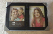 "Prinz Picture Frame Collage Solid Wood Black Holds 2 5"" x 7"" Photo New"