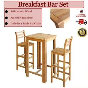 3 piece Wooden Table Chairs Set Breakfast Bar Stool Wood Pub Kitchen Home Design