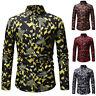 Mens Fashion Casual Long Sleeve Shirts Business Slim Fit Shirt Print Blouse Top