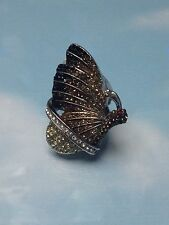 BUTTERFLY  BIG  SILVER  RING  w/ IRIDESCENT & PRETTY STONES  WOMENS  size 6  NEW