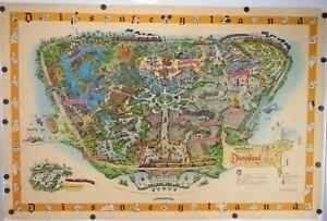 RARE Vtg 1958-B DISNEYLAND MAP Theme Park Poster 30 X 45 MATTERHORN Art Litho