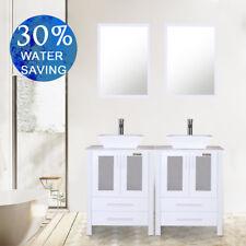 "48"" Bathroom Vanity Ceramic Vessel Sink W/Mirror Cabinet White Basin 2 drawer"