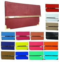 NEW WOMENS FLAT ENVELOPE GOLD TRIM DETAIL FAUX LEATHER PARTY EVENING CLUTCH BAG