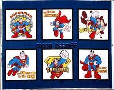 Super Friends Superman Figures Shield Blue Quilt Cotton fabric DC Comics