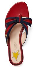New GUCCI Auth Studded Grosgrain Web Thong Sandal, Red 35.5./5.5