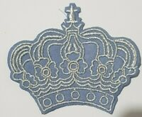 sky blue Silver Crown Patch Iron On Sew On King Queen Fancy Dress Embroidered Ba