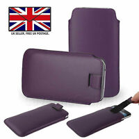 Purple Leather Slim Pull Tab Phone Cover Pocket Pouch For Sharp Aquos Zero