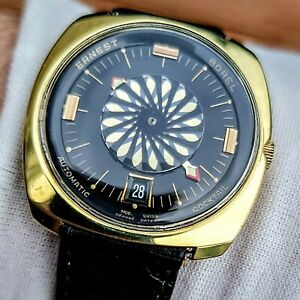 Stunning ERNEST BOREL Automatic Cocktail Watch Swiss Made Mystery Dial 1960's