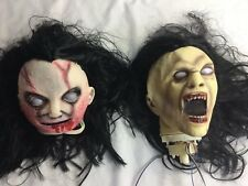 2 Halloween Props Rotting Zombie Heads Scary HEADS Hairy