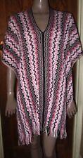 New Missoni Orange Label Pink Wool/Acrylic Kaftan PONCHO With Fringe - One Size