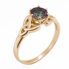 Trinity Knot Ring 1ct Mystic Topaz Diamond-Unique 9ct Gold White/Yellow