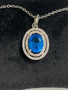 2.6Ct Oval Blue Topaz and Cubic Ziircona .925 Sterling Silver Pendant Necklace