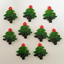 Hot DIY 10pcs Resin hand painting Christmas tree Flatback stone Wedding buttons