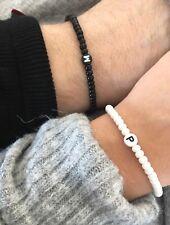 Partnerarmband Perlenarmband Initiale BLACK & White Schwarz Weiß