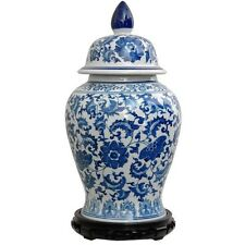 "Handmade Porcelain Blue And White Chinese Temple Floral Vase 18"" High With Lid"