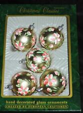 Commodore Christmas Ornaments Gold Pink Flower Glass Balls Set 5 Hand Painted