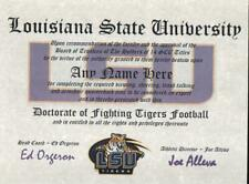 LSU TIGERS FOOTBALL~ CERTIFICATE ~ DIPLOMA  ~ MAN CAVE ~ GREAT GIFT
