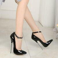 Sexy Women's Pointy Toe Ankle Strap Super High 16CM Stiletto Heel Pumps Shoes SZ