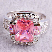 Wedding Emerald Cut Pink White Topaz Gems Silver Ring Sz 5 6 7 8 9 10 11 12 13