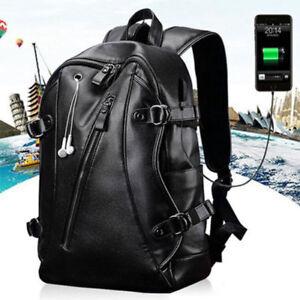 Men's PU Leather Backpack UBS Charging Port Laptop Bag Knapsack Bag SG