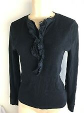 Ralph Lauren Shirt Henley Women Sz S Long Sleeve Solid Black LRL Jeans Cotton