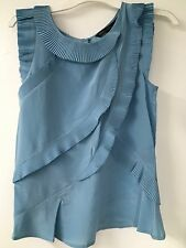 Marc by Marc Jacobs Blue Silk Top,Ruffle Detail, sz S,Retail $398