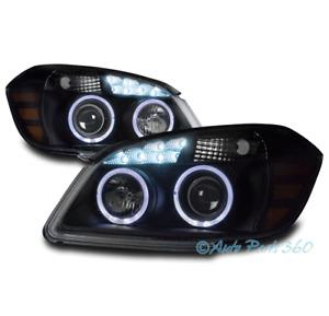 FOR 05-10 CHEVY COBALT/07-09 PONTIAC G5 HALO LED PROJECTOR HEADLIGHTS LAMP BLACK