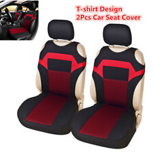 Black/red 2pcs Front Car Seat Cover Polyester Fabric For Interior Accessories
