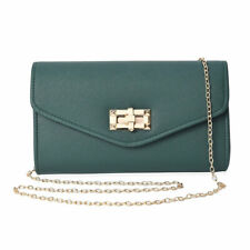 Dark Green Small Size Clutch Bag with Detachable Shoulder Chain for Women Ladies