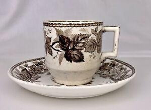 Antique Brown Transferware Coffee Demi Cup and Saucer -  84843
