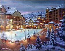 "S.SAM PARK ""Beaver Creek WINTER""Hand-embellished giclee unstretched Ice skate"